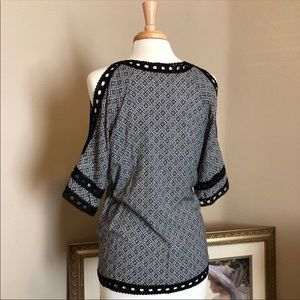 Fever Tops - FEVER Open Shoulder Embroidered Peasant/BohoTunic